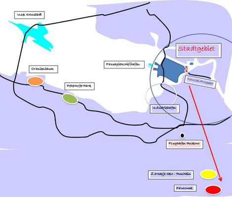 Karte mit Pawlowsk