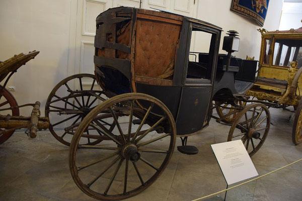 Kutsche im Kutschenmuseum auf Zar Alexander wurde der Anschlag verübt