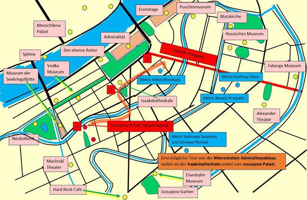 Schema von der Metro zum Jussupow Palast