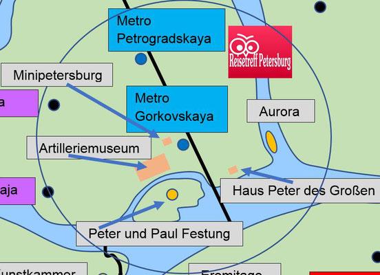 Metro Gorkovskaya mit Sehenswürdigkeiten