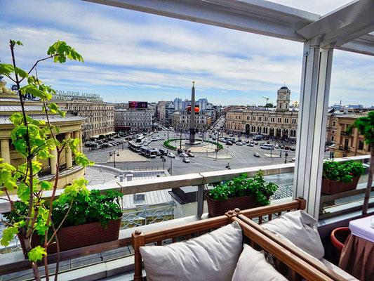 Blick vom Restaurant Moskau auf den Platz des Sieges