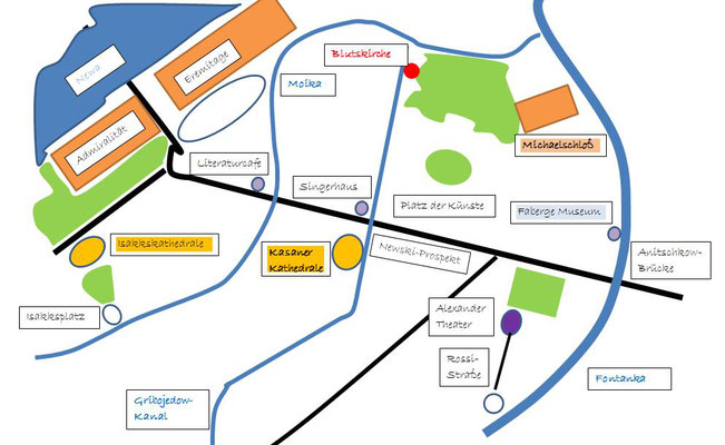 Zentrum Sankt Petersburgs mit der Eremitage - Karte Schema Stadtplan