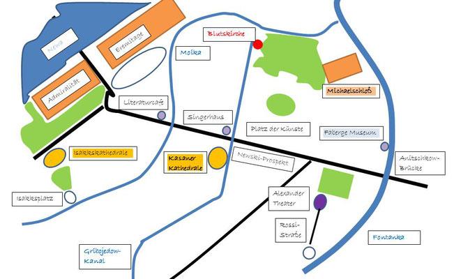 Zentrum mit Kasaner Kathedrale - Karte