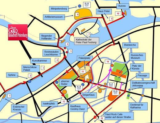 Schema der Tour durch Sankt Petersburg