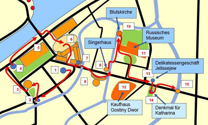 vom Singerhaus bis zur Anitschkow Brücke
