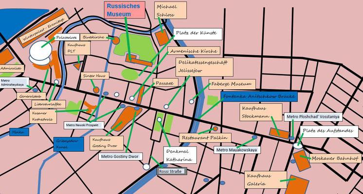 Stadtplan mit Sehenswürdigkeiten Russisches Museum und Zentrum in Sankt Petersburg
