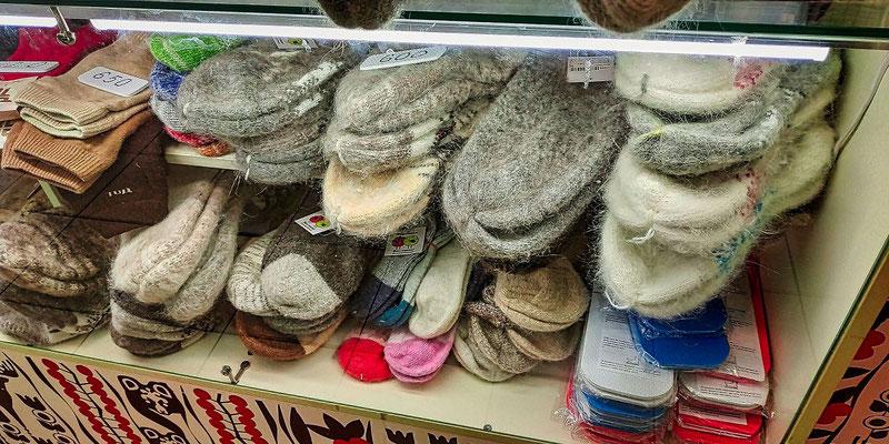 Socken aus gekämmten Hundeharen