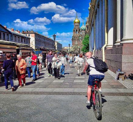 Fahradfahrer in St Petersburg