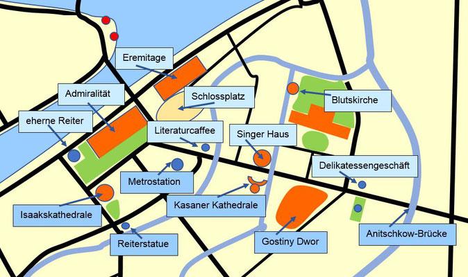 Schema der obere Teil des Stadtzentrums mit dem Newski Prospekt für eine private Stadtführung