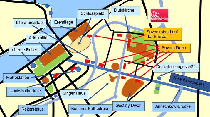 Karte vom Zentrum Sankt Petersburg mit den Sovenirläden