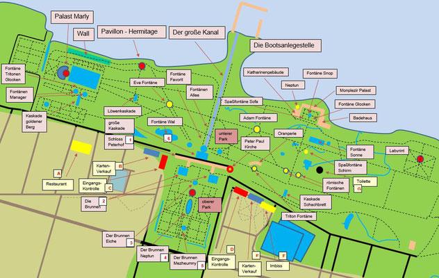 Karte vom Peterhofer Park die Übersicht