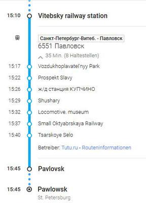 Fahrplan mit dem Zug vom Vitebskaja Bahnhof nach Pawlowsk