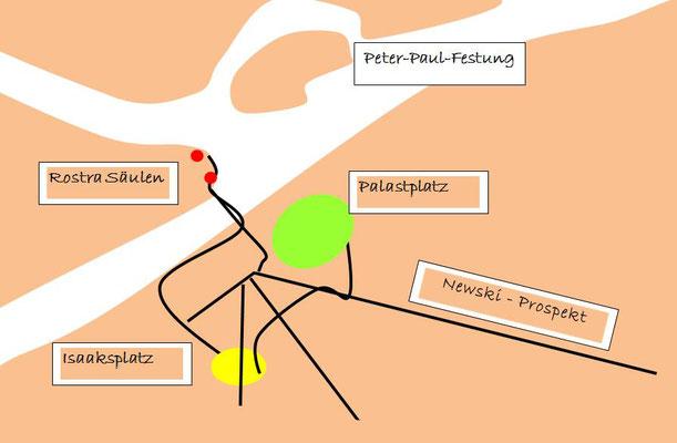 Lage der Peter und Paul Festung