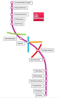 Schema lila Linie der Metro