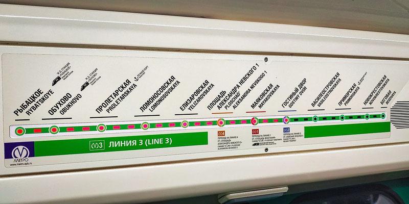 Anzeige der nächsten Metrostation im Wagon