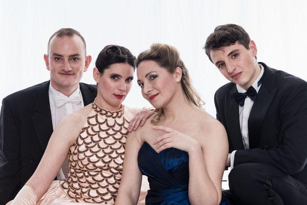Meyerbeer-Ensemble: Tobias Hagge (Bass), Andrea Chudak (Sopran), Alexandra Rossmann (Klavier), Julian Rohde (Tenor) (Foto: Alex Adler)