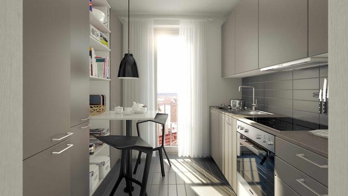 Küche in Etagenwohnung