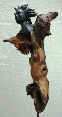 Figur Keramik-Holz, Raku, verkauft