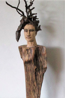 Tree-People, Keramik-Holz, ca. 120 cm