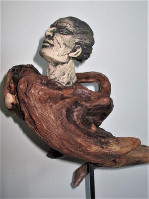 Tree-People, Keramik-Schwemmholz, ca. 40 cm