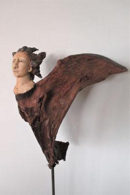 Engel, Keramik-Holz, ca. 65 cm
