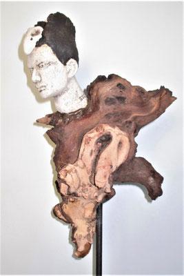 Tree-People, Keramik-Holz, ca. 50 cm