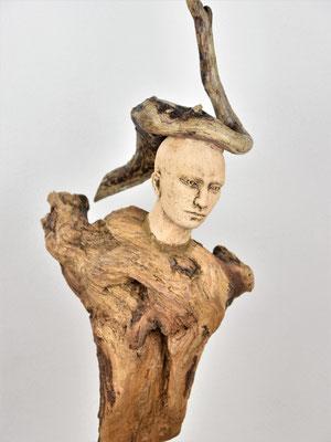 Tree-People, Keramik-Holz, ca. 70 cm