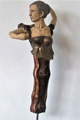 Flamenco, Keramik-Rebenholz, ca. 65 cm