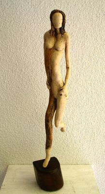 Frauenakt, Keramik-Holz, verkauft