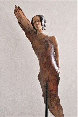 Engel, Keramik-Holz, ca. 150 cm