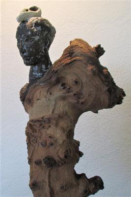 Dark Angel, Keramik-Holz, ca. 50 cm