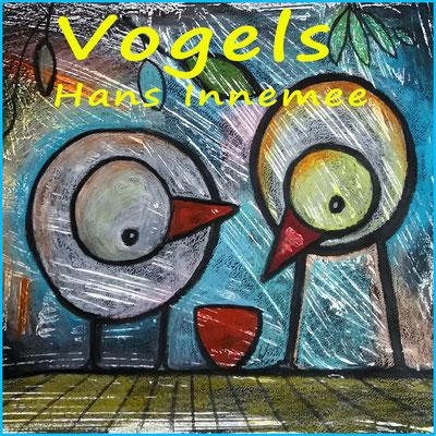 Zo leuk om te doen, deze koddige vogels van Innemee met kleurpotlood op plakkaatverf!