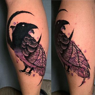 cuervo watercolor tattoo
