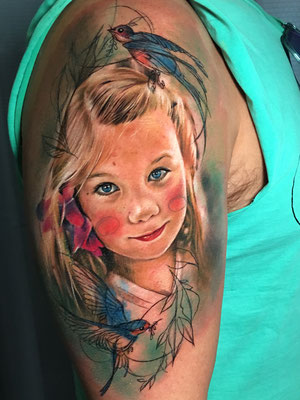 retrato niña tattoo