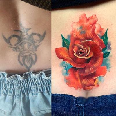 cover tattoo rosa