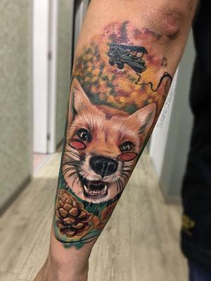 Tatuaje zorro color