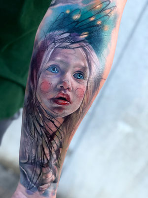 tatuaje niña angel