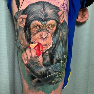 tatuaje chimpancé realista