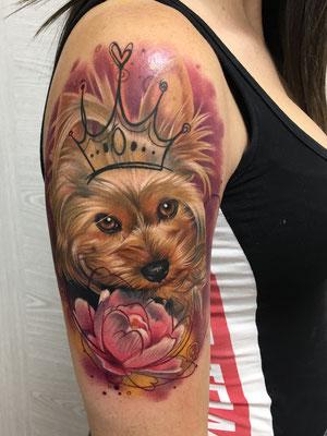 retrato perro flor
