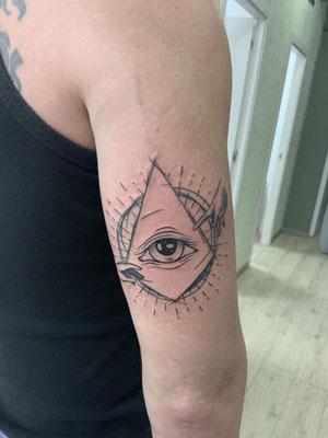 tatuaje ojo manos creación