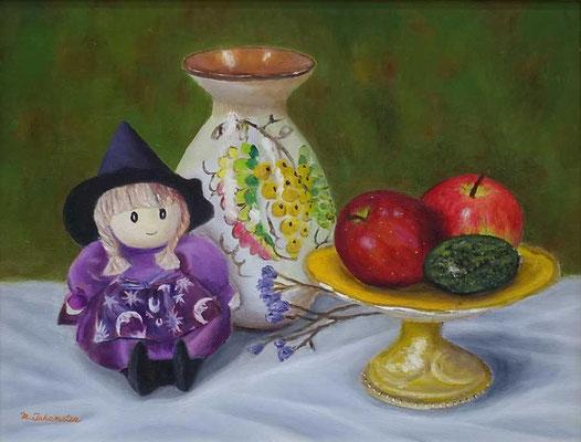 33 会友 高松 典雄 魔法使い人形と壺と果物 F6 油彩