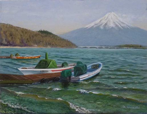 32 会友 高松 典雄 河口湖のボート P10 油