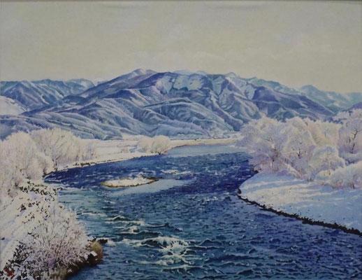 5  会員  斉藤 七郎 雪景色の輝き 84×65cm 版画