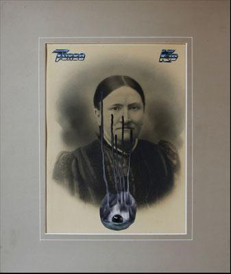 """""""Turbo kid"""", Collage auf antiker Kohlezeichnung, 54x43cm, 2019"""