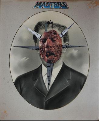 """""""Master"""", Collage auf antiker Kohlezeichnung, 54x42cm, 2019"""