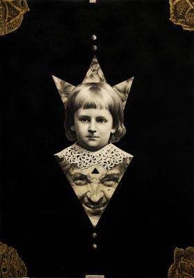 """""""Tote Transzendenz"""", Kohle, Kupferstich, Lithographie, Sprühlack auf Papier 70x50cm, 2014"""