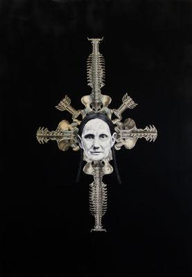 """""""Diktatur der Diktatur"""", Öl auf Leinwand, Stahlstich, Sprühlack auf Papier, 100x70cm, 2015"""