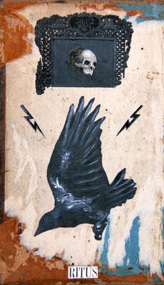 """""""Ritus"""", Malerei, Collage auf Buchdeckel aus Holz, 21x12cm, 2014"""