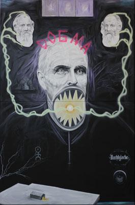 """""""Dogma"""", Öl, Sprühfarbe auf Leinwand, 240x160cm, 2019"""