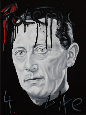 """Polemic 4 life"", Öl, Sprühfarbe auf Leinwand, 40x30cm, 2018"